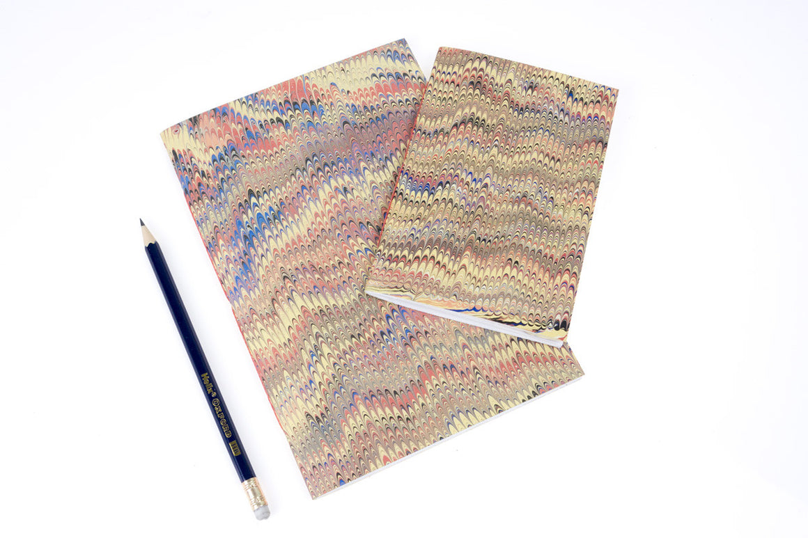 Vintage Marbled Notebook in Yellow & Pink Nonpareil, A5 and A6