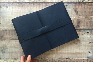 Handmade Leather Scrapbook in Navy Blue