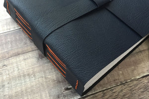 Navy Leather Memories Book in the Longstitch with Linkstitch binding
