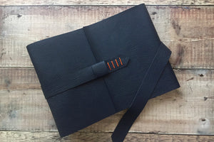 Leather Memory Book in Navy Blue and Orange