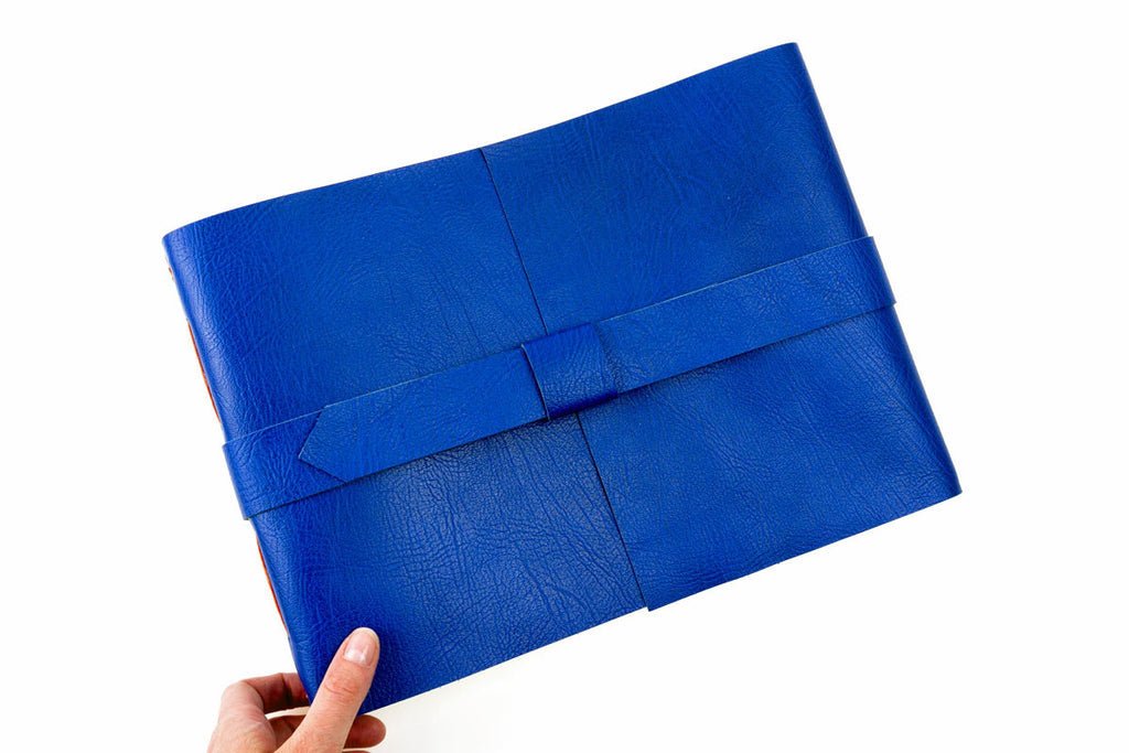 Blue Scrapbook Hand Bound in Leather