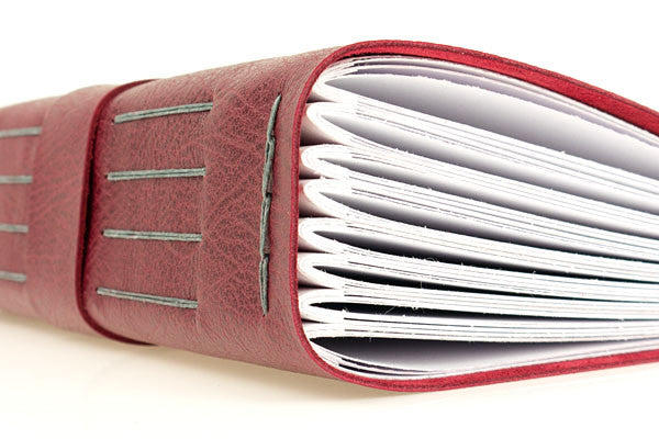 Leather Memory Book / Scrapbook in Crimson and Grey
