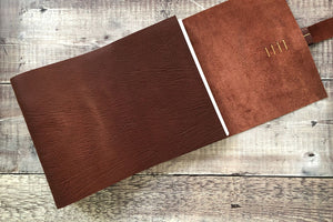 Oxblood Leather Scrapbook handmade in the UK