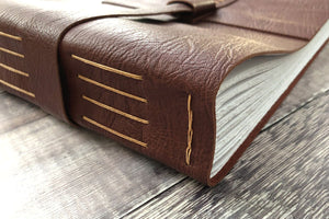 Leather Bound Memory Book: scrapbook or photo album made in the UK