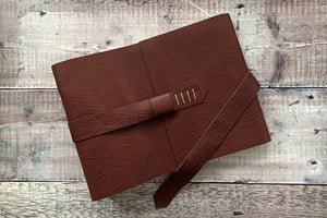 Leather Retirement Gift Memory Book in Oxblood and Tan.