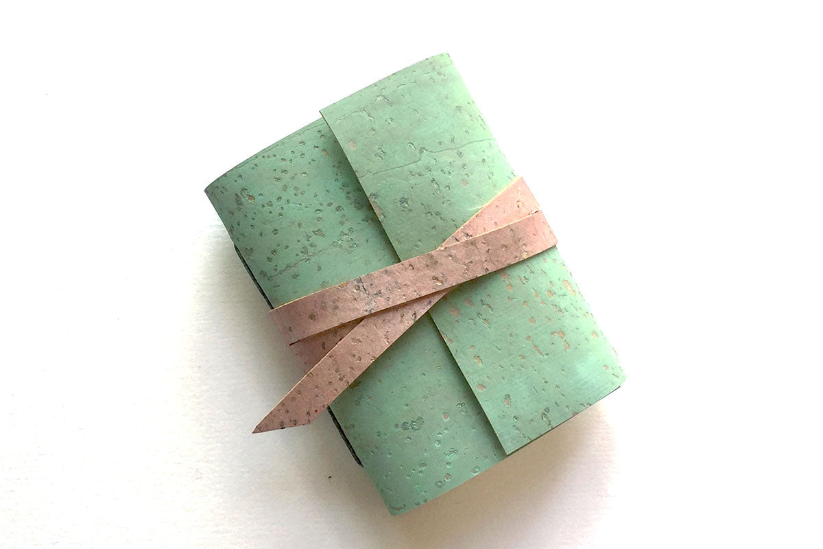Cork Mini Journal in Mint Green with 'Charleston Roundel' lining.