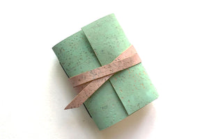 Cork Miniature Journal bound in Mint Green with Pink detail; a vegan stationery gift