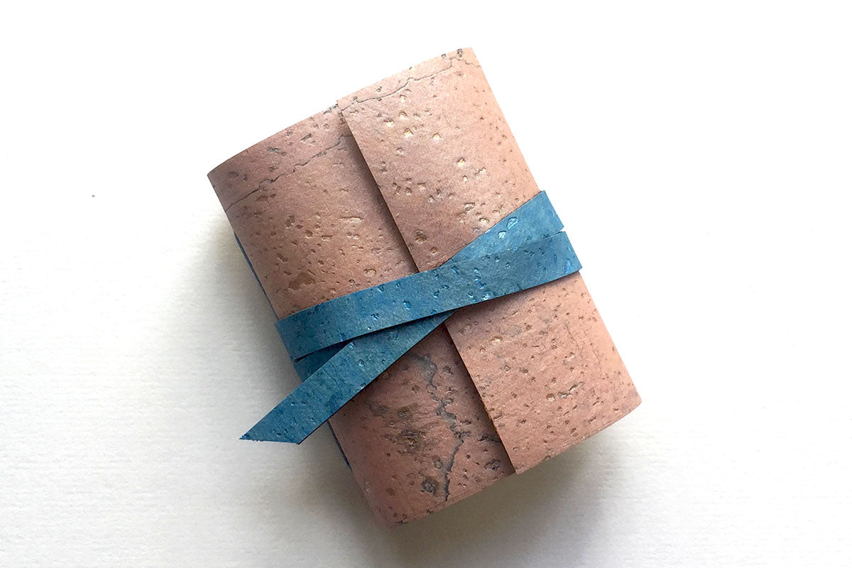 Cork Miniature Journal in Rose Pink Gold with 'Persephone Cornflower' endpaper in Blue