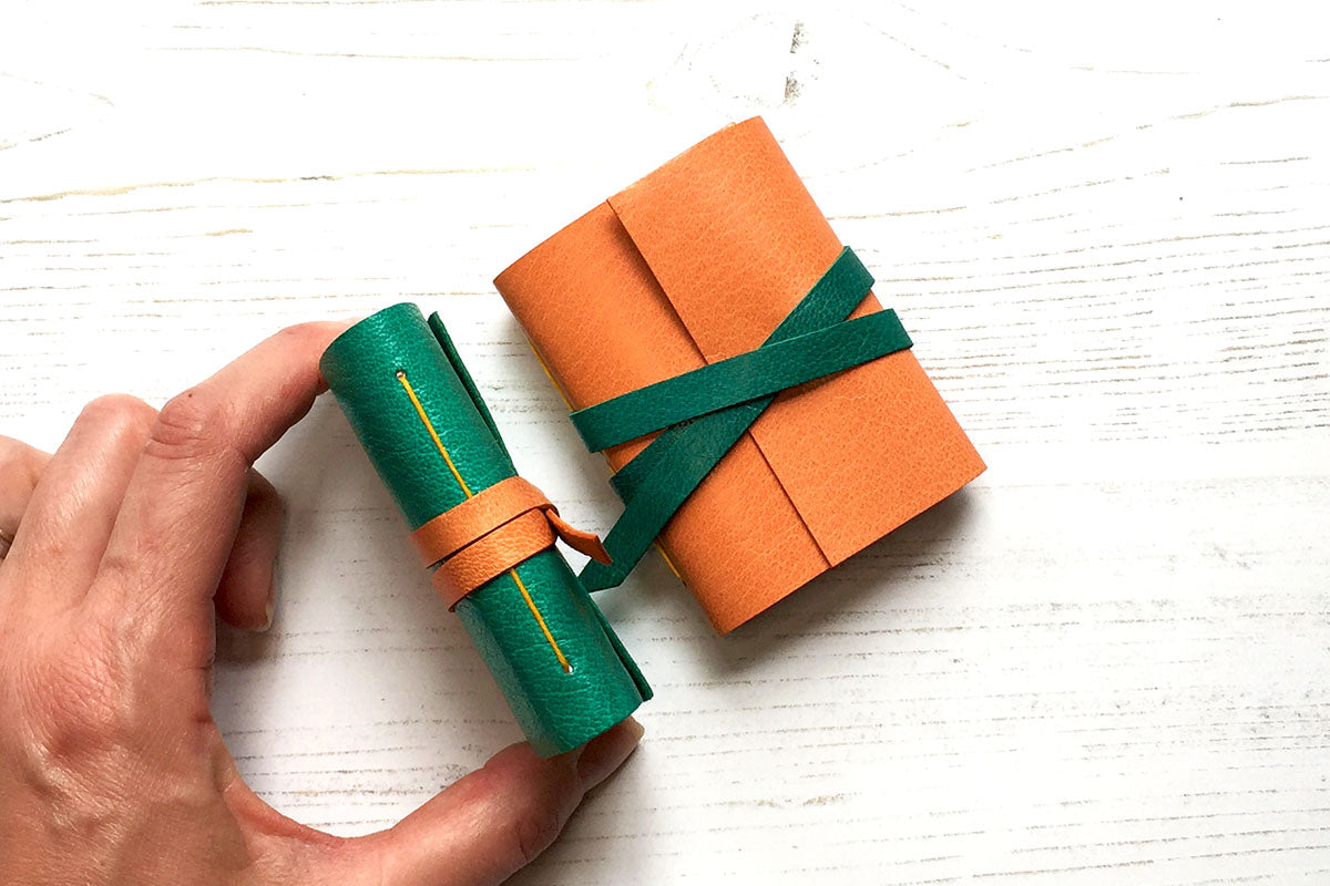 Miniature Leather Journal: Emerald & Peach
