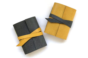 Miniature Leather Journals: Grey and Yellow Bound by Hand