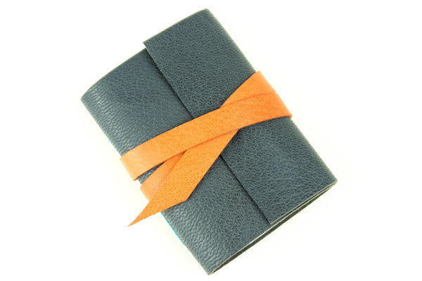 Orange Leather Notebook handmade in the UK
