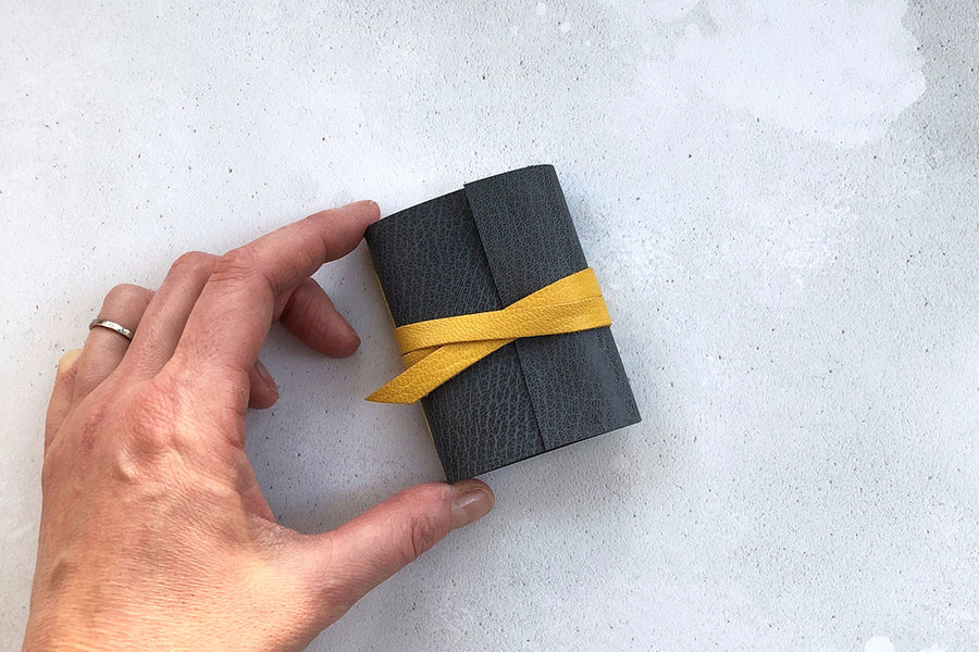 Mini Leather Journal in Grey with Yellow tie