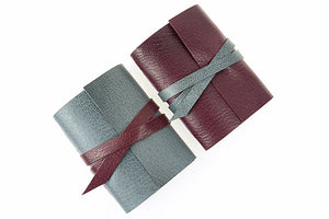 Leather Mini Notebook: handmade in Maroon and Grey