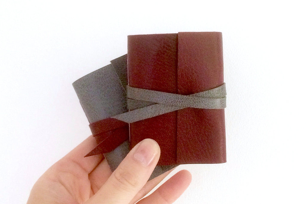 Maroon and Grey Hand Made Mini Leather Journal Stocking Filler Gift