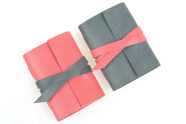 Pink and Grey Leather Journals hand made in Britain