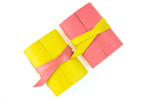 Leather Mini Journal: Pink and Lemon handmade in the UK