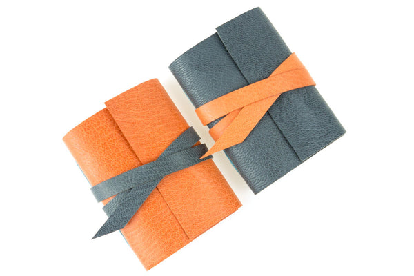 Hand made mini leather journals Grey and Orange