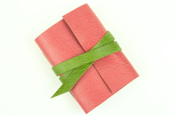 Leather Mini Journal: Pink and Lime