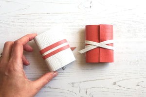Miniature Leather Journals bound by hand in the UK. Pink and White mini notebook gifts.