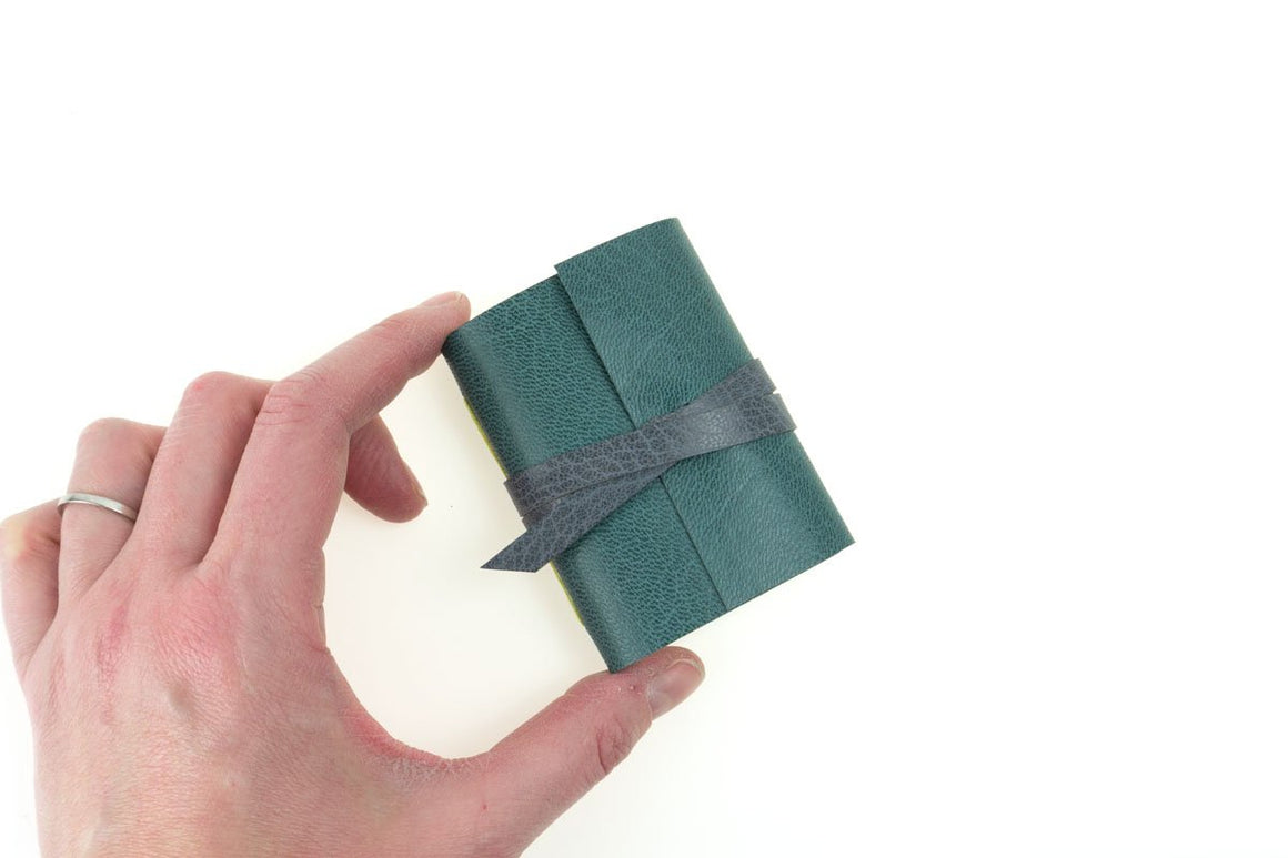 Mini Leather Journal Stocking Filler Gift in Nordic Teal and Grey