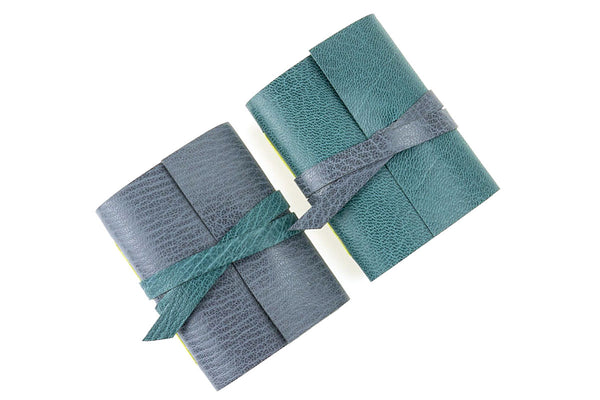 Mini Leather Journals in Nordic Teal and Grey
