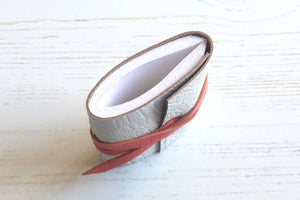Handmade Mini Leather Journal / Notebook in white and pink, single signature binding.