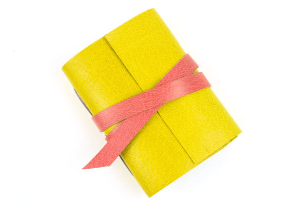Mini Leather Notebook / Journal in pink and yellow.