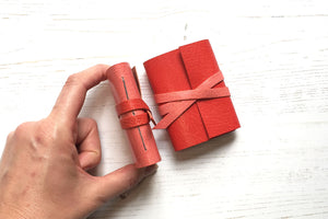 Mini Leather Journal in pink and red. Handmade gift under £20