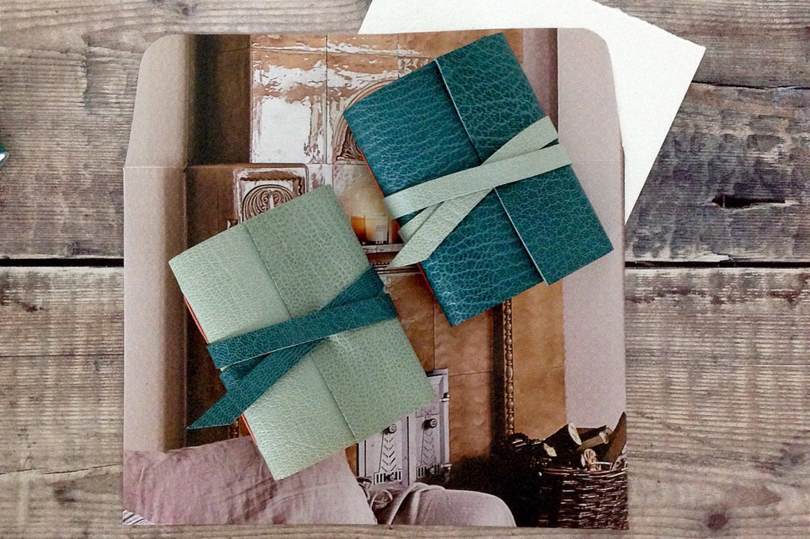 Miniature Journal: Teal & Pale Blue