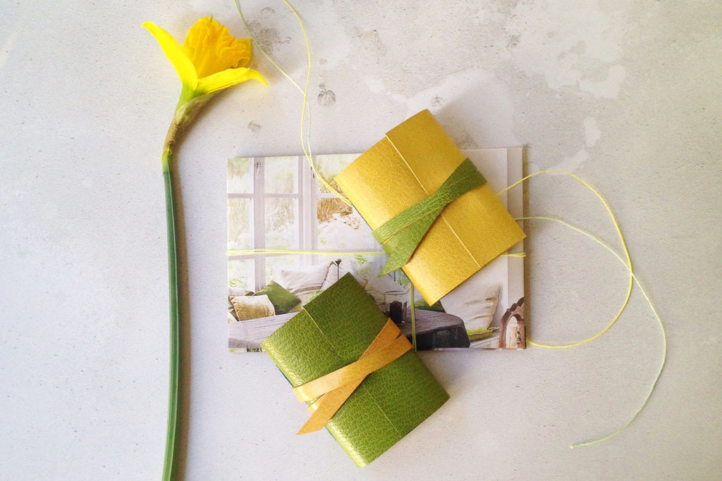 Greenery spring desk accessories hand made mini leather journal / notebook