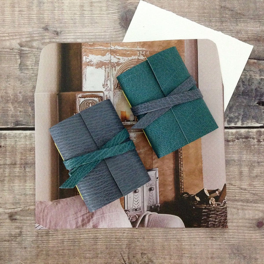 Handmade Mini Leather Notebooks in Teal and Grey