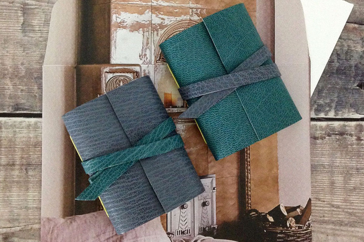 Mini Leather Journal / Notebook in teal and grey, handmade in the UK