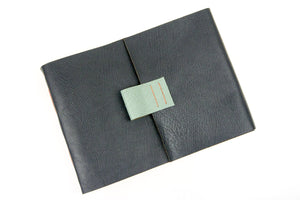 Handmade Artist's Sketchbook with penholder bound in Grey and Duck Egg leather with Coral  spine stitching