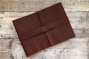 Leather Sketchbook bound in Oxblood and Blue with cartridge paper