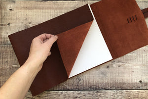 Leather Sketchbook bound by hand in the UK