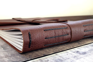 Longstitch with Linkstitch Leather Sketchbook bound by hand