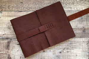 Oxblood Leather Sketchbook with strap handmade in Dorset