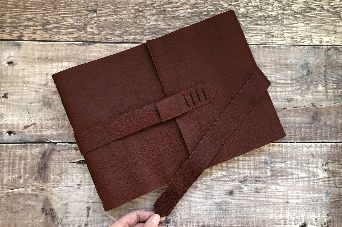 A4 Large Leather Sketchbook handmade in the UK