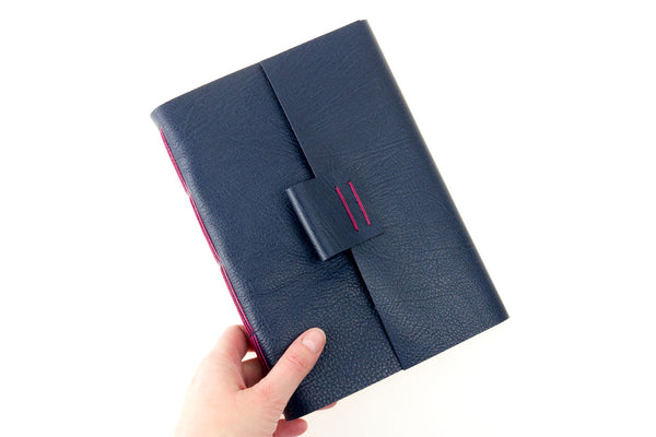 Leather Sketchbook: Blue & Magenta with watercolour paper