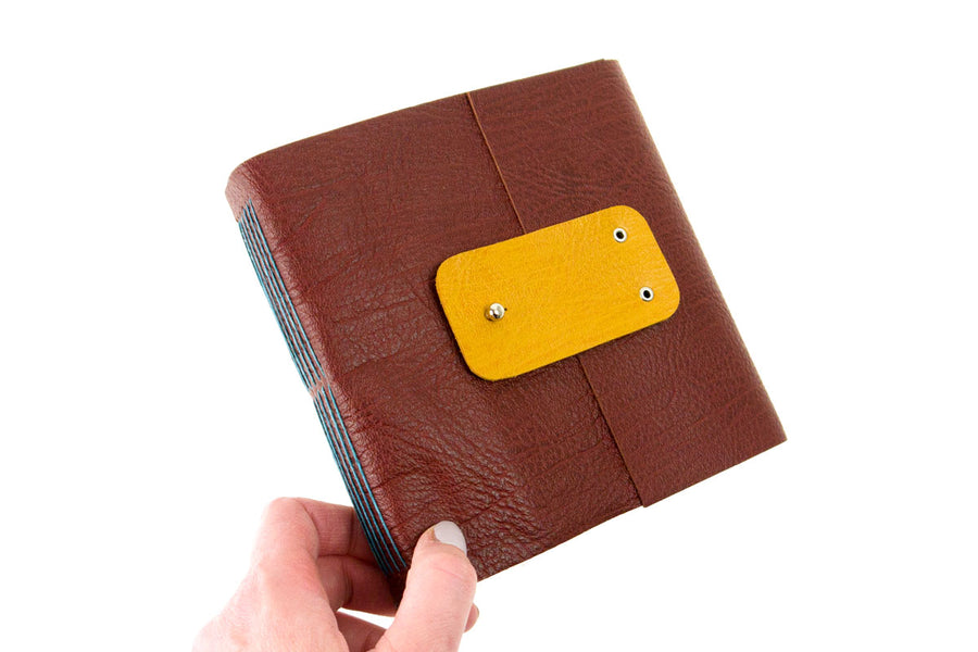 Hand Bound Leather Artist's Sketchbook: Oxblood and Teal with watercolour paper