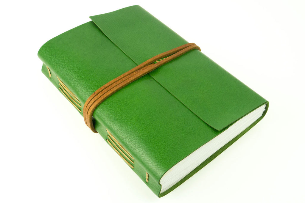 £100 off sale: Leather Travel Journal bound in Green and Tan