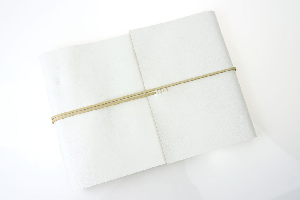 Wedding Guest Book: White & Natural hand made in leather