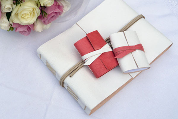 Wedding Guest Book handmade in leather