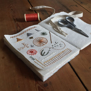Cotton Rag Sketchbook used for stitching, embroidery and weaving