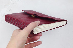 Leather Sketchbook for Artists: Bound by Hand in crimson and grey