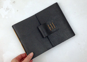 A5 Leather Sketchbook: Chocolate & Tan with watercolour paper