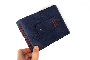 Watercolour Sketchbook bound in Navy Blue leather, handmade Longstitch binding
