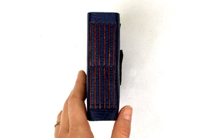 Leather Sketchbook in the Longstitch binding - Navy Blue and Rust. Bound by hand in the UK