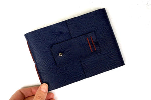 Navy Blue and Rust Leather Sketchbook for watercolours, bound by hand in the UK