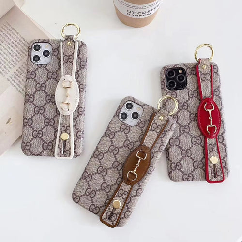 Gucci Style Classic Hand Strap Designer iPhone Case For iPhone 12 SE 11 Pro Max X XS Max XR 7 8 Plus - Casememe.com